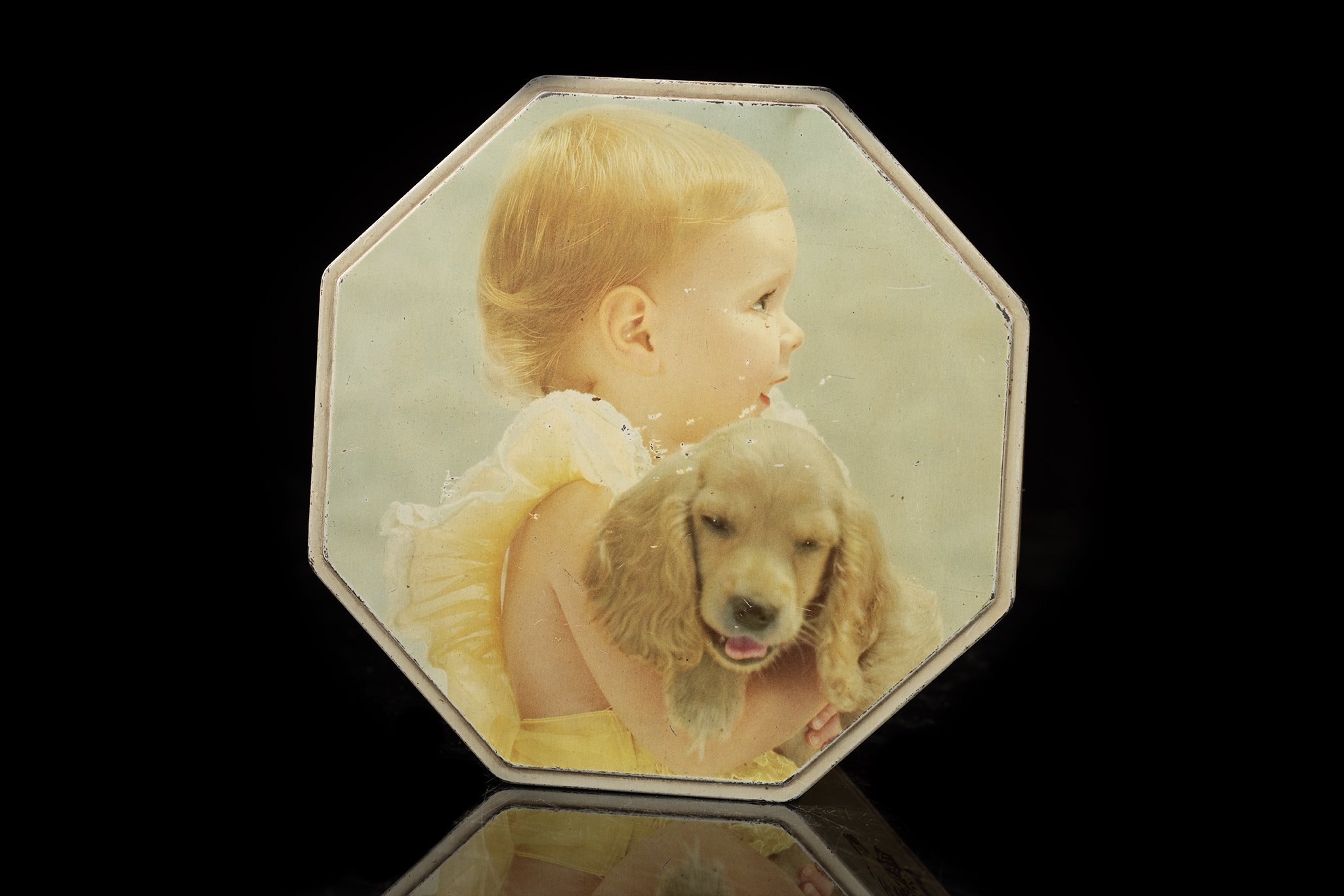 Vintage-tin-dog-box-achthoekig