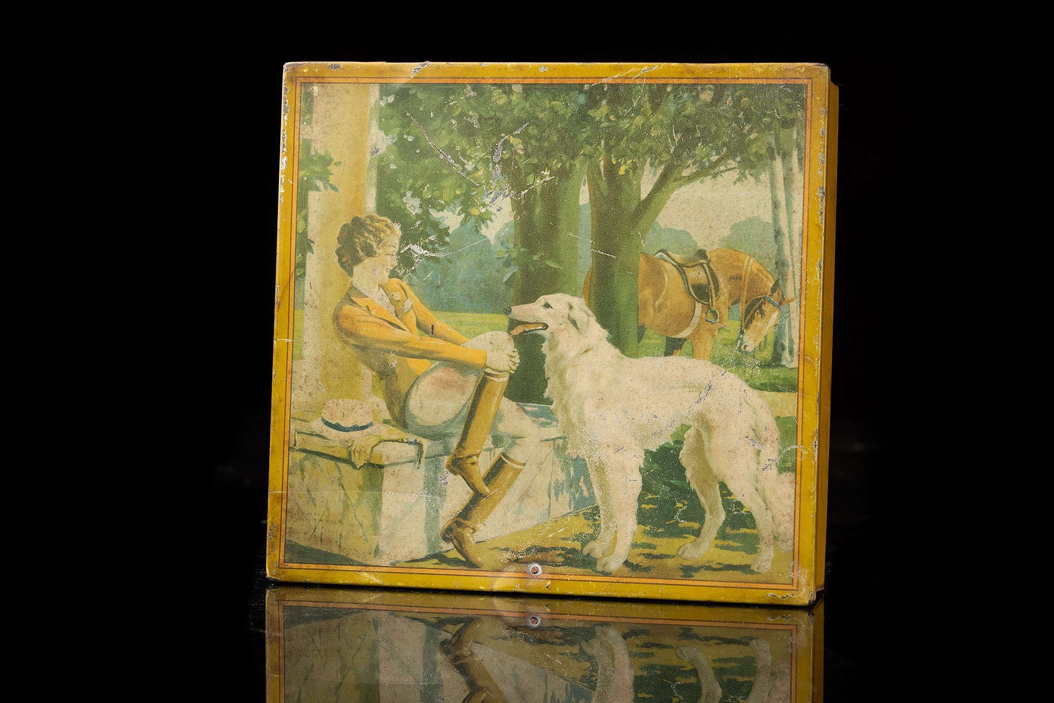 Vintage-tin-dog-box-barzoi