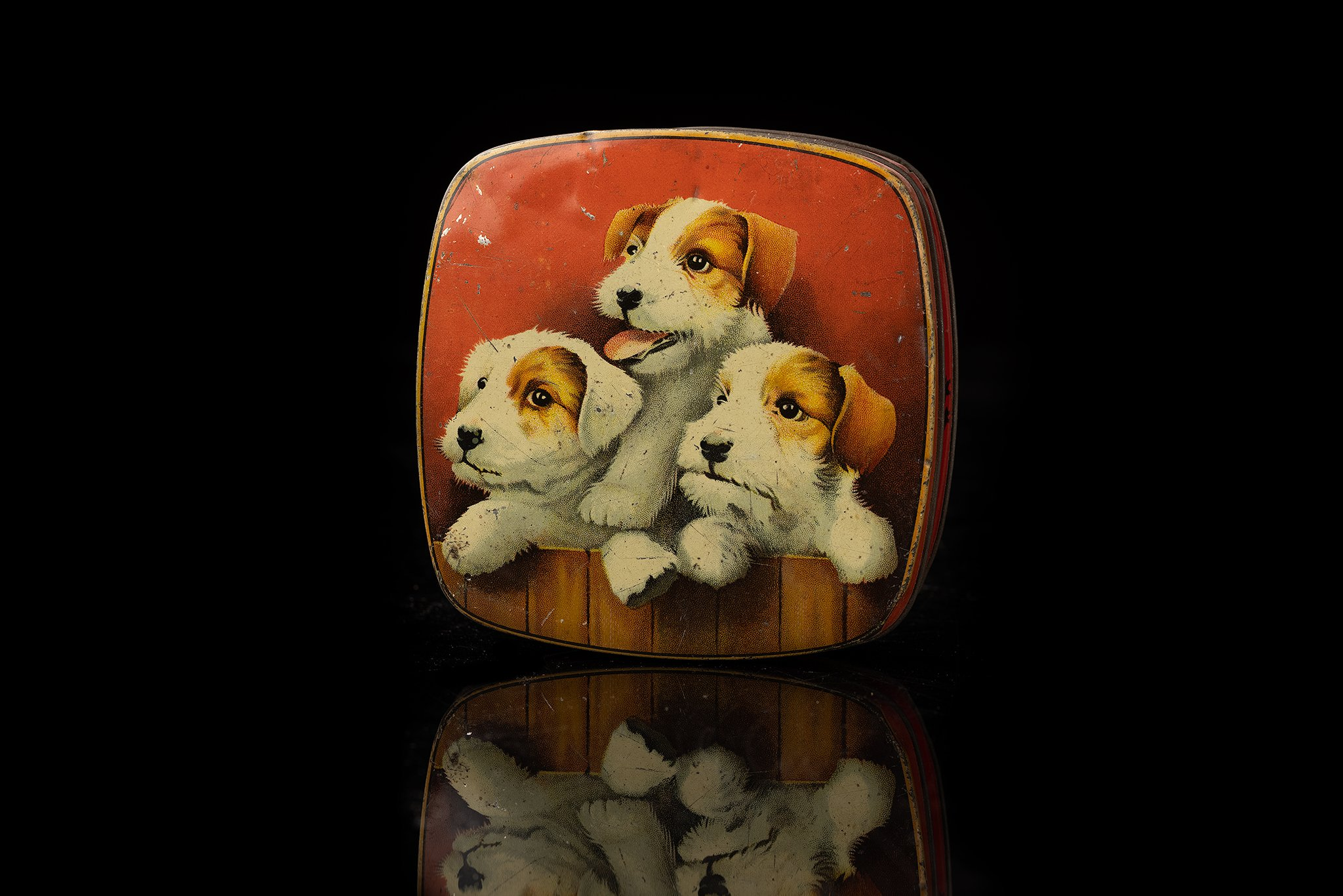Vintage-tin-dog-box-jack-russel-puppies